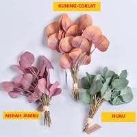 Daun Eucalyptus Artificial Import - Merah Muda