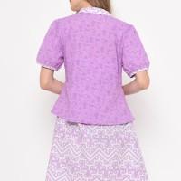 Dress Batik Wanita Lengan Pendek Ishma Purple- Etniq Carft