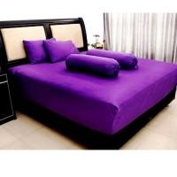 Hd715 Ellenov Sprei With Bed Cover Katun Prada Polos Warna Ungu Phloxp