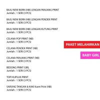 Baju Bayi Perempuan New Born Print / Paket Melahirkan Anandafikhri