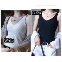 Knit Tank Top Wanita All Size Knitted Baju Dalaman 6 Warna - Putih