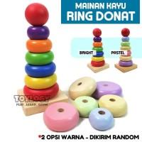 Mainan Edukasi Anak - Kayu Balok Susun Ring Donat ( Wooden Toy)
