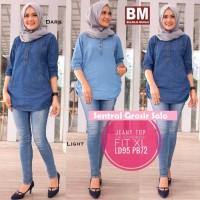 Atasan Blouse jeans muslim / Tunic Jeany top busui