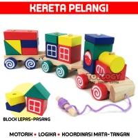 Mainan Edukasi Anak Kereta Api Kayu Pelangi Balok Susun Rainbow Train