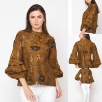 Baju Blouse Atasan Batik Wanita Modern Nona Rara, Keropi Sogan T0150