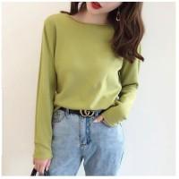 baju atasan wanita lengan panjang O-Neck knit tshirt import all size