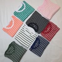 Fashion Kaos Wanita Striple Salur Soft Katun Belang Garis Baju Cewek