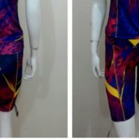 Crystal Baju Senam Celana Pendek licra motif