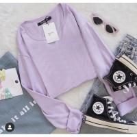 Atasan tshirt oversize baju Lilac PJ panjang bahan spandex size fit XL