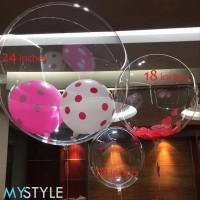 MYSTYLE BOBO BALON PVC 18/24/36 INCH (BALON SAJA) TRANSPARAN BALON LED