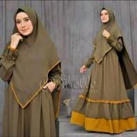 Baju Gamis Set Khimar Syari Set Hijab Muslim Kekinian Murah Terbaru