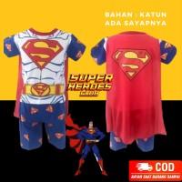 Setelan Anak Laki-Laki Pendek Superman Putih Baju Karakter Cowok Sayap