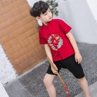 Jual Beli Baju Imlek Anak Cheongsam Cowo Setelan pendek Anak laki laki
