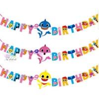 bunting flag / banner ulang tahun happy birthday baby shark Besar - pink