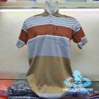 Kaos Kerah Polo XL, XXXL / Poloshirt / Kaos Kerah Salur - Cokelat, XL