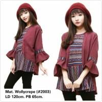 Blouse Wanita Big Size Kombinasi Songket Batik Crepe 5XL LD 120