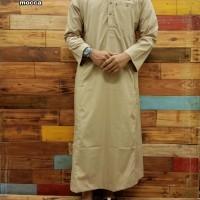 Busana Muslim Pria Dewasa Jubah Al Amwa Lengan Panjang Kancing Polos