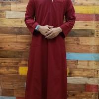 Busana Muslim Pria Dewasa Jubah Al Amwa Lengan Panjang Zipper Polos