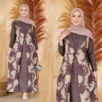 Gamis Asyanti Batik Modern Busana Muslim Wanita Baju Lebaran