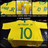 Jersey Bola Kit Negara Brasil Brazil Home Piala Dunia 2018 & Nameset