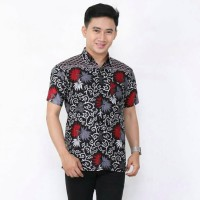 Baju Batik Pria Lengan Pendek Kembang Langit Buh Atas / Kemeja Bati