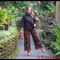 setelan ethnic celana panjang blouse kain tenun jepara blanket lasem