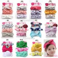 Set 3Pcs Bandana Bando Headband Aksen Pita Motif Bunga untuk Bayi