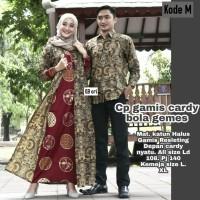 couple Gamis batik Cardy motif bola /Gamis Batik Seragam Baju Muslim..