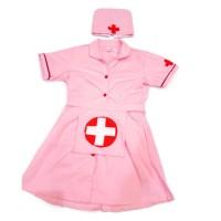 Baju perawat anak TK warna Pink - Kostum profesi perawat untuk anak TK