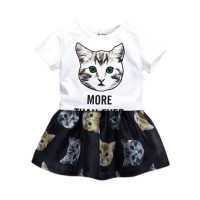Unik Setelan Kaos T-Shirt Anak Perempuan Lengan Pendek Gambar Kucing