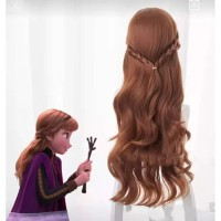 Rambut Palsu Anna Frozen 2 Anak Wig Kepang Aksesoris Cosplay Impor