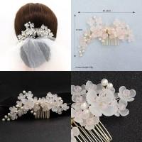 sirkam bunga putih aksesoris sanggul rambut pesta / hiasan rambut