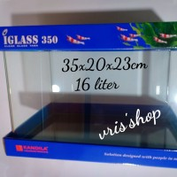 iglass 350 kandila aquarium kaca bending 16 liter Size 35x20x23cm