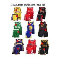 Stelan Jersey Baju Basket Anak NBA GO Grade Ori Branded Termurah