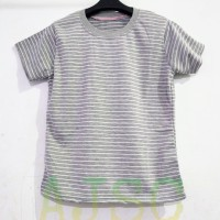 Kaos wanita/baju STEVI - STEVIA/bahan babyterry SALUR/kaos STRIPE-(L) - Abu-abu, L