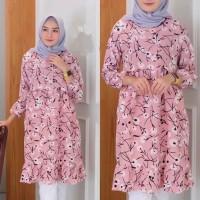 baju atasan tunik muslim sunrise corak bunga fit to L