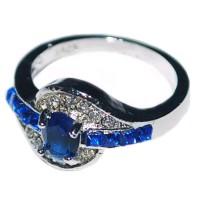 MURAH Cincin Batu Safir Biru Hiasan Kristal Emas Putih Sale