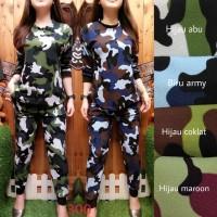 Colette Army Pattern Set Setelan Baju Celana Wanita Shirt 6578