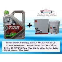 Paket Oli Mobil TMO 5W-30 API SN & Filter Oli TOYOTA YARIS & VIOS