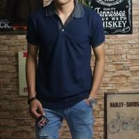 baju kaos fashion pria kancing kerah shanghai navy premium quality