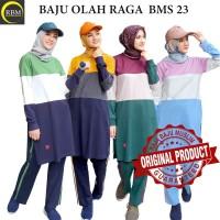 BMS 23 Baju Kaos Olah Raga Wanita Muslim Muslimah Bahan Katun Ori