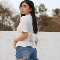 blouse wanita warna putih atasan wanita warna putih baju wanita import