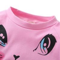 New Setelan Kaos T-Shirt Anak Perempuan Lengan Panjang Gambar Kucing