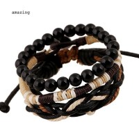 Grosir Men's 3 Pcs Punk Style Wood Beads Knitted Leather Bangle Wax