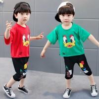 Terlaris Setelan Kaos T-Shirt Katun Korea Anak Laki-laki / Perempuan