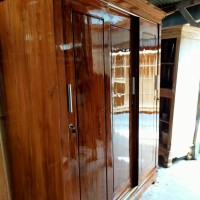 lemari pakaian jati asli 3 pintu sliding minimalis