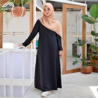 Muslimore Baju Muslim Wanita Gamis Murah Hitam Polos Balotelli XGBPH01