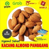 500gr Kacang Almond Panggang Oven Roasted Kupas Tanpa Kulit Original