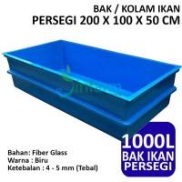 Bak Kolam Ikan Persegi 200 X 100 X 50 CM Fiber Tebal Berkualitas