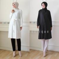 Atasan Tunik Muslim Wanita/ Hem Kemeja Panjang Hitam Putih Polos Busui